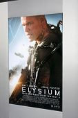 LOS ANGELES - AUG 7:  Elysium Poster arrives at the