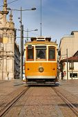 image of tram  - tram in front of Carmo Church  - JPG