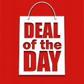 Deal of the day poster with bag,  vector illustration