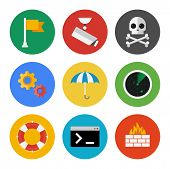 foto of shield-bug  - Vector collection of colorful icons in modern flat design style on internet security theme - JPG