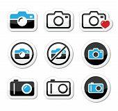 Conjunto de iconos analógica y digital cámara