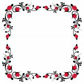 Vintage calligraphic frame with red roses. Vector illustration.