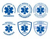 image of paramedic  - Illustration of six EMT or paramedic designs with star of life medical symbols - JPG