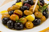 Spanish Cuisine. Marinated Olives.