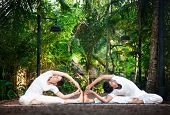 stock photo of yoga instructor  - Couple Yoga of man and woman in white cloth doing parivrtta janu sirsasana Revolved Head to Knee pose in the garden - JPG
