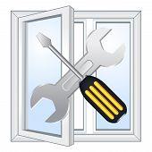 Window repair workshop emblem