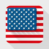 Vector Simple flat icon with USA flag.