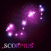 Scorpius zodiac sign of the beautiful bright stars on the backgr
