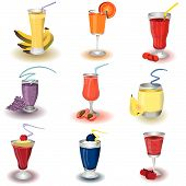 stock photo of fruit-juice  - Vector illustration of colored different fruit health shakes - JPG