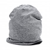 a gray watch cap or knit cap on a white background