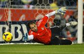 BARCELONA - JAN, 12: Diego Lopez of Real Madrid during the Spanish League match between Espanyol and