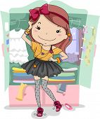Illustration of a Girl Trying Out Different Clothes
