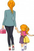 Illustration of a Mother Walking Her Daughter to School