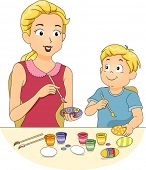Illustration of a Mother Painting Easter Eggs with Her Son