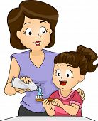 Illustration of a Mother Teaching Her Daughter How to Brush Her Teeth