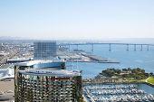 San Diego Downtown sky view and Coronado bridge