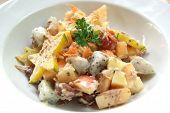 Tuna cream salad with exotic Asian fruits