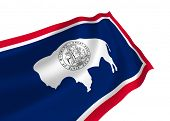 Illustration of Wyoming state flag waving in the wind (see more other flags in my collection)