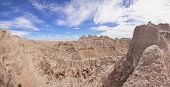 panorama of heavy erosion in badlands national park