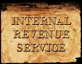 Sign of Internal Revenue Service IRS for collecting taxes