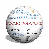 Stock Market 3D Sphere Word Cloud Concept