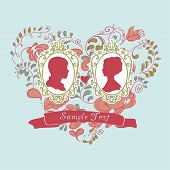 Ornamental heart and Silhouettes of newlyweds