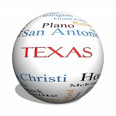 Texas State 3D Sphere Word Cloud Concept