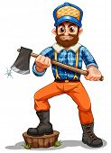 Illustration of a lumberjack stepping on a stump on a white background