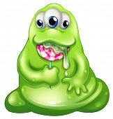 Illustration of a greenslime baby monster eating a lollipop