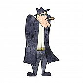 stock photo of trench coat  - cartoon man in hat and trench coat - JPG
