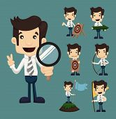 Set Of Businessman Aimming Target Characters Poses