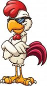 Cartoon chicken wearing cool sunglasses. Vector clip art illustration with simple gradients. All in a single layer.
