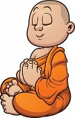 Cartoon buddhist monk meditating. Vector clip art illustration with simple gradients. All in a singl