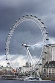LONDON, UNITED KINGDOM, JUNE 4 2013: London Eye under a storm, view from Westminster Bridge