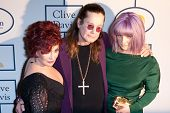 BEVERLY HILLS, CA. - JANUARY 25: Sharon, Kelly & Ozzy Osbourne arrive at the Clive Davis & The Recording Academy annual Pre-GRAMMY Gala on January 25th 2014 at the Beverly Hilton in Beverly Hills.