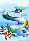 pic of igloo  - Illustration of Santa Claus near the igloo and a rainbow in the sky - JPG