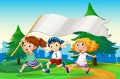 Illustration of the three kids running with an empty flag banner