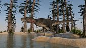 tarbosaurus on shore