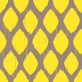 Ikat yellow rhomb seamless pattern