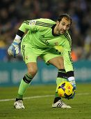 BARCELONA - JAN, 12: Diego Lopez of Real Madrid during the Spanish League match between Espanyol and Real Madrid at the Estadi Cornella on January 12, 2014 in Barcelona, Spain