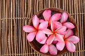 Many frangipani in bowl on bamboo mat