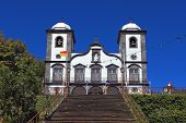 Attractions Portuguese island of Madeira. The magnificent white church of Nossa Senhora do Monte.
