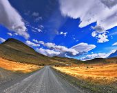 Patagonia. A dirt road in the Chile National Park