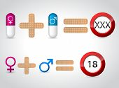 Male Female Symbols And Pills For Sex