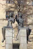 Krasnoyarsk, RU - Nov.10, 2012: Sculpture-fountain