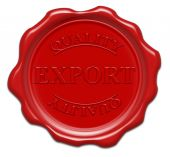 Quality Export - Illustration Red Wax Seal Isolated On White Background With Word : Export