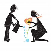 Couple Watering A Flower