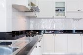 Modern white clean kitchen interior