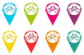 Set of icons with bicycle symbol