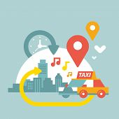 Illustration Of An Urban Life With Taxi And Geo Location